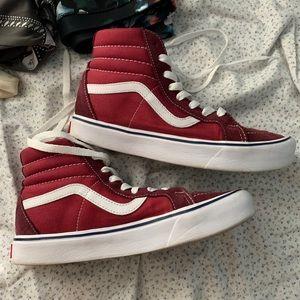 Red sk8 Hi Vans